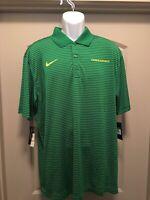 NWT Men's Nike XL Oregon Ducks Dri-Fit Green Striped Polo