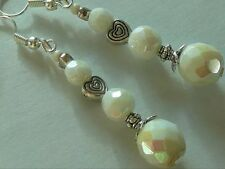 Vintage Art Deco Borealis Facet Milk Glass Long Earrings Formal Boho Prom Bridal