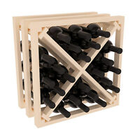 Wine Rack Stacking X Cube in Ponderosa Pine. Holds 24 Bottles. USA Made.