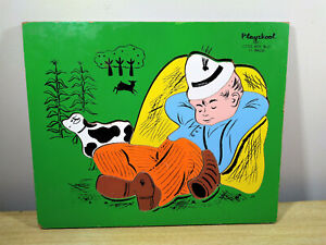 Darling Vintage Playskool Little Boy Blue Colorful Chunky Wooden Tray Puzzle