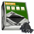 8x10 Ft Waterproof Poly Tarp Protect Cover 10mil Tarpaulin with 25 Ball Bungees