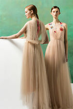 DELPOZO Sheer Tulle Jeweled Dress Gown 36 4