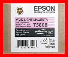 01-2015 Genuine Epson Pro 3880 T580B T580B00 Vivid Light magenta printer ink New