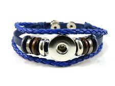 Noosa Style Leather Bracelet Chunks Ginger Snaps Snap Button Charms Blue
