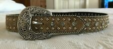 Nocona Calf Hair Genuine Leather Youth Belt Rhinestones Sz 22 N4414437 Brown/Tan