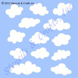 CLOUD STENCIL MULTIPLE SHAPES CLOUDS SKY PATTERN PAINT CRAFT SCRAPBOOK ART