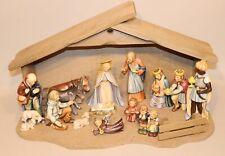 Hummel 214 Nativity Set with Wooden Stable Mary Joseph Jesus Angels Moorish King