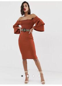 Asos Design Off Shoulder Shirred Bardot Belted Midi Dress Rust Size 6 Sold Out