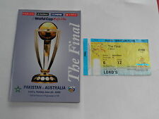 1999 WORLD CUP CRICKET PROGRAMME AND TICKET PAKISTAN V AUSTRALIA AT LORDS
