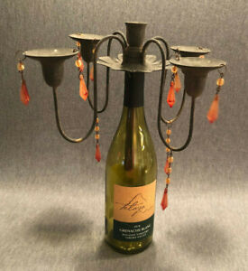 Rustic Wine Bottle Candelabra w/Beads for 4 Taper Candles.