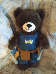 BUILD A BEAR INDY INLAND BROWN TEDDY W/ OVERALLS & TOOL STUFFED ANIMAL PLUSH TOY