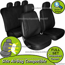 Universal Black Leather Look Front Rear Car Seat Covers Set. Airbag Compatible