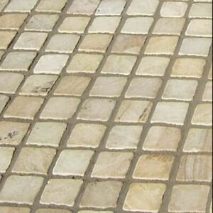 Indian Stone Cobble Setts 100x100 Fossil Mint 1m2 Collected 40-60mm Driveway