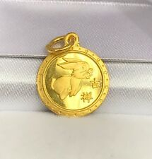 Zodiac 24K Solid Yellow Gold Animal Sign Round Rabbit Charm/ Pendant,1.90Grams