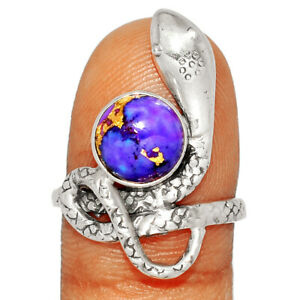 Snake - Copper Purple Turquoise - Arizona 925 Silver Ring Jewelry s.8 BR57047
