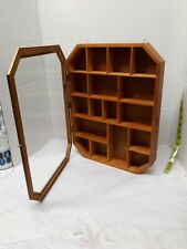Wooden Glass Front Wall Hanging Curio Display Case 17 Fixed Openings Knick Knack
