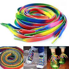 2 Pairs Flat Rainbow Shoe Laces Long Shoelaces Bootlaces 8MM Wide  DSUK