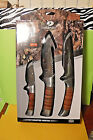 NEW IN PACK! 3pc. MOSSY OAK LEATHER WRAPPED HUNTING KNIVES SET! GUT HOOK/SHEATHS