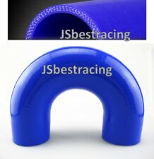 "Blue 2"" 180 Degree Elbow Silicone Hose Pipe 51mm U Shape Instake Coupler Turbo"