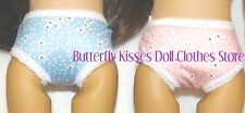 2 PR Flower Panties Pink Blue Lace Trim 18 in Doll Clothes Fits American Girl