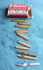 More details for antique part box of esterbrook pens 314 relief pens 6 nibs + 4 unbranded others