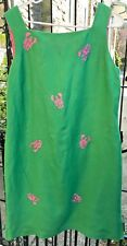 Talbots Dress Green Pink Embroidered Lobsters Sleeveless Lined Size 16