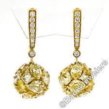 Suzy Levian 10.13ctw Fancy Intense Yellow & Brilliant Diamond Drop Ball Earrings