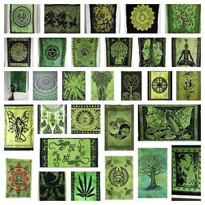 GREEN Wall Hanging Tapestry Mandala COTTON Boho Hippie Wall Art Poster