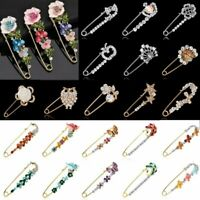 Wedding Brooch Pin Safety Pin Gold Silver Flower Pearl Crystal Woman Jewellery