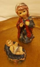 Nativity Set of 2 decorations:  Mary and Baby Jesus, pre-owned, Christmas decor