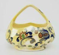 Vintage Yellow Luster Ware Basket Folk Art Design- Czechoslovakia Pottery- AS IS