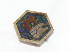 Vintage Sterling Silver 925 Pill Box Mexico Abalone Copper Blue Lapis 10.6 Grams