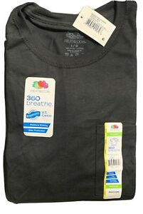 MEN'S FRUIT OF THE LOOM COTTON EVERSOFT POCKET T SHIRT BLACK LARGE 3 PACK NWT