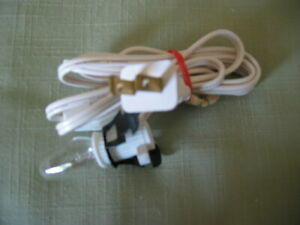 Christmas Village Single Bulb Light Cord For Houses & Buildings On/Off Switch