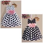 Princess Baby Kids Girls Party Wedding Polka Dot Flower Gown Fancy Dress 2-7Y