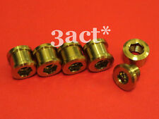 10 pcs Titanium / Ti Bolt & Nut (5 Botls & 5 Nuts) Crankset Chainring Gold Color