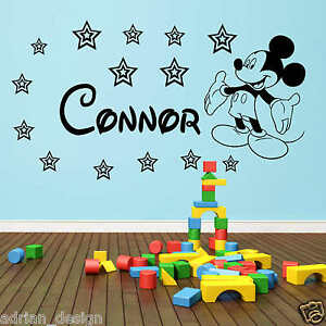 MICKEY MOUSE personalised Wall Sticker Any Name Decal Disney Style