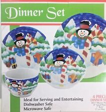 Snowman Christmas Holiday Dinner Plates 4 Piece Place Setting Dinnerware Dishes