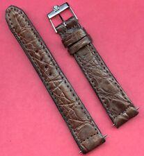 Vintage Omega Steel Buckle 18mm Brown Genuine Crocodile Strap Band For Seamaster