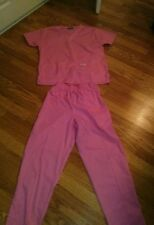 Medical Uniform Solid Pink Crest Scrub 2 Piece Set Size small*
