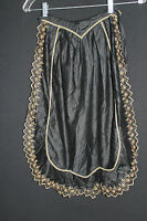 FRENCH EDWARDIAN ERA BLACK POLISHED COTTON HAND EMBROIDERED APRON
