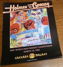LeRoy Neiman Larry Holmes Gerry Cooney 3x Signed 22x28 Fight Poster PSA/DNA COA