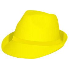 NEON YELLOW TRILBY HAT HEN RAVE PRIDE FUN