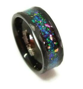 Ring Men's Black Tungsten Carbide Wedding Rainbow Opal Band Hammered Edges