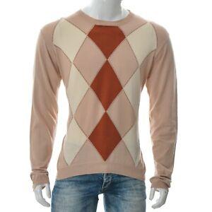 DAKS Men's Argyle Print Crew Neck Sweater Knitted Pullover Long Sleeve Size L