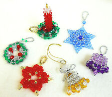 PATTERNS ONLY Beaded Christmas Ornaments, Classic Holiday Designs set of 6