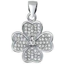 Four Leaf Clover Heart .925 Sterling Silver Pendant