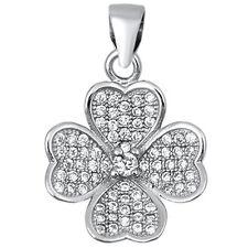 Four Leaf Clover Heart .925 Sterling Silver Pendant