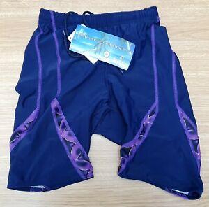 "ACCLAIM Compression Running Shorts Medium Navy Blue Purple Print 30""/32"" Waist"