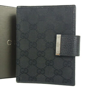 Auth GUCCI GG Canvas Leather Agenda Daily Planner Cover w/Box Italy 16006bkac